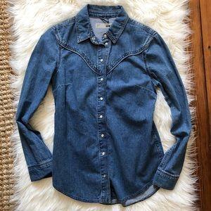 Topshop Denim Buttondown Shirt | Size 4